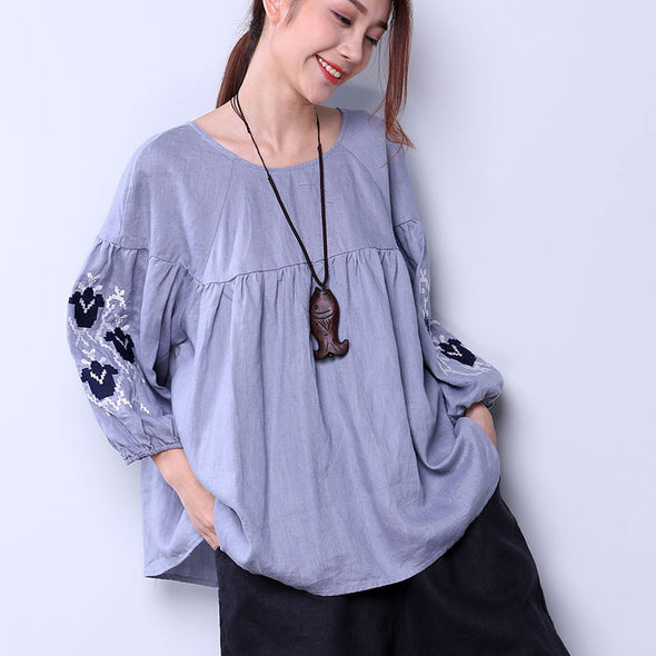 Embroidered Women Loose Linen Casual Lacing Folded Blue Shirt - Buykud