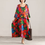 Round Neck Three Quarter Sleeve Colorful Printed Dress - Buykud