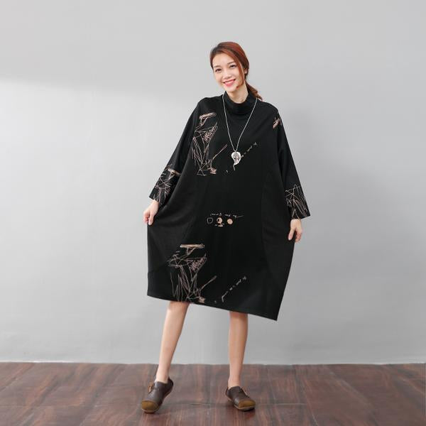 Semi-High Collar Loose Long Sleeve Printing Pockets Dress