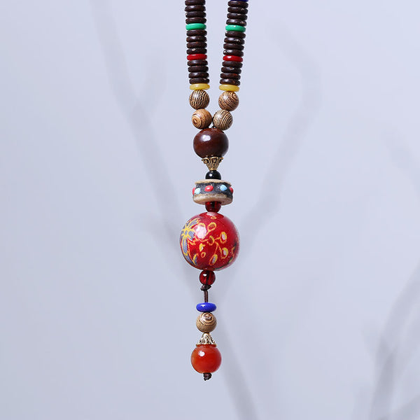 Vintage Agate Ethnic Bead Wooden Necklace