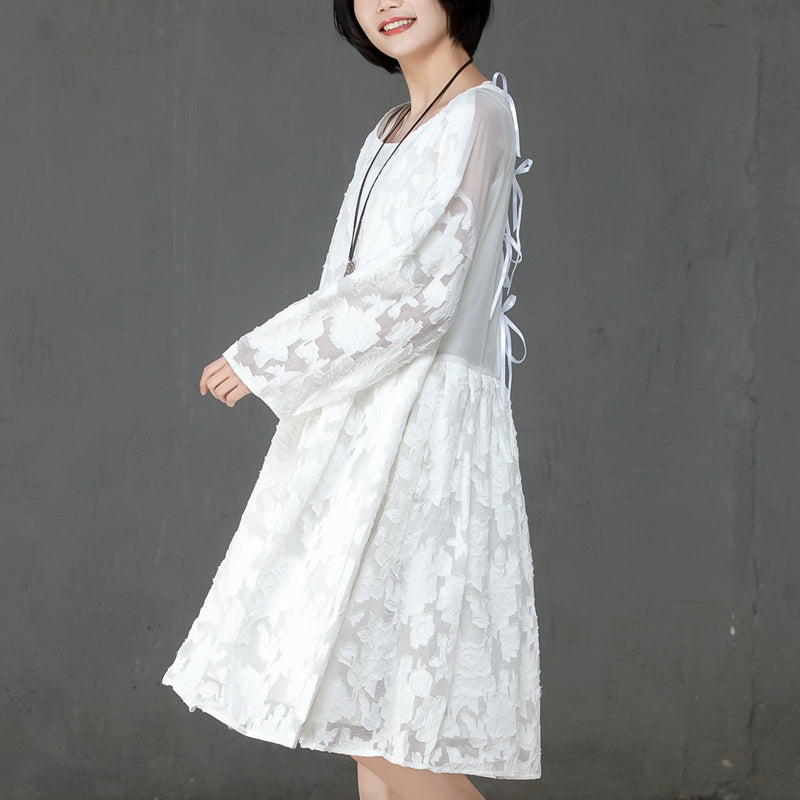 Loose Women Spring Round Neck Long Sleeve White Dress - Buykud