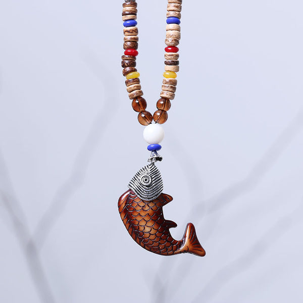 Special Bead Wooden Fish Necklace