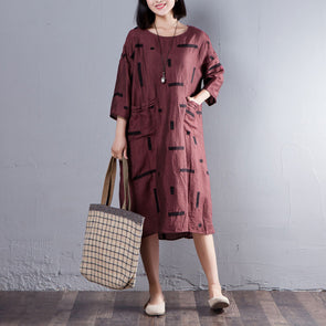 Casual Three Quarter Sleeve Round Neck Red Dress - Buykud