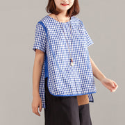 Women Blue Plaid Zipper Short Sleeve Summer Tops