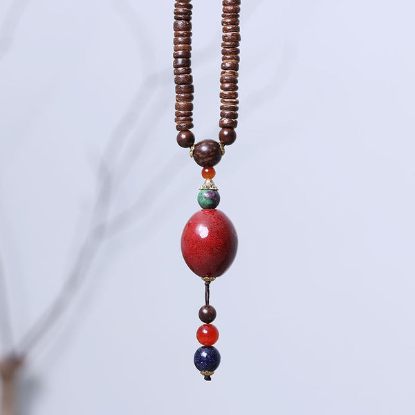 Women Retro Exquisite Red Pendant Wood Beads Necklace