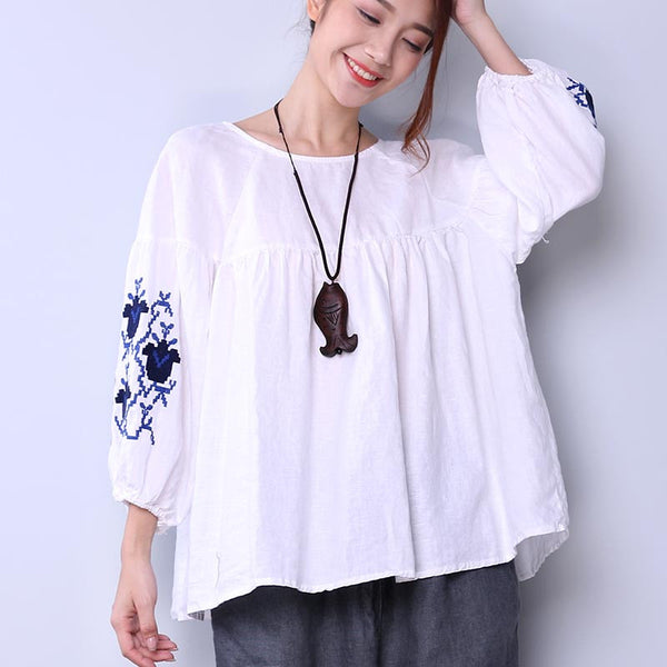 Embroidered Women Loose Linen Casual Lacing Folded White Shirt