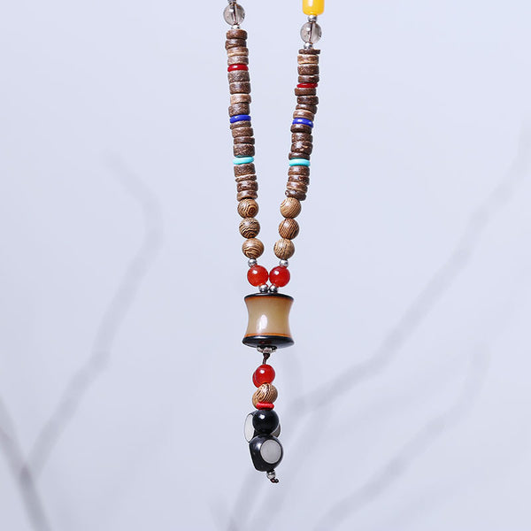Women Retro Wooden Ethnic Casual Beads Necklaces