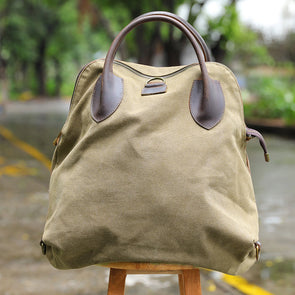 Casual Large Capacity Canvas Leather Shoulder Bag Backpack - Buykud