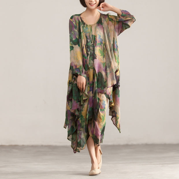 Retro Two Piece Printed Sleeveless Dress Cardigan Coat - Buykud