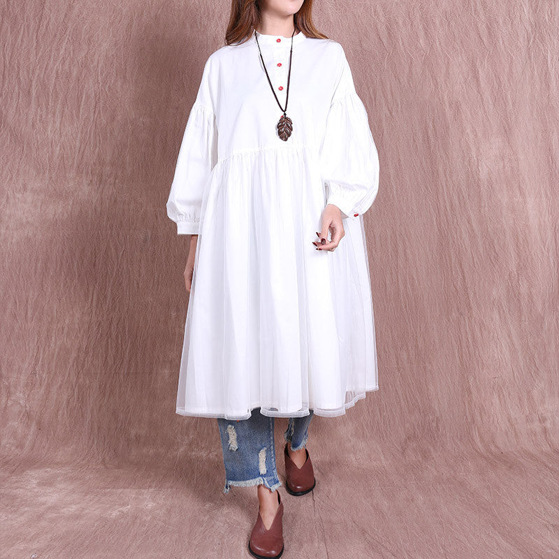Folded Cotton Loose Women White Tulle Dress - Buykud