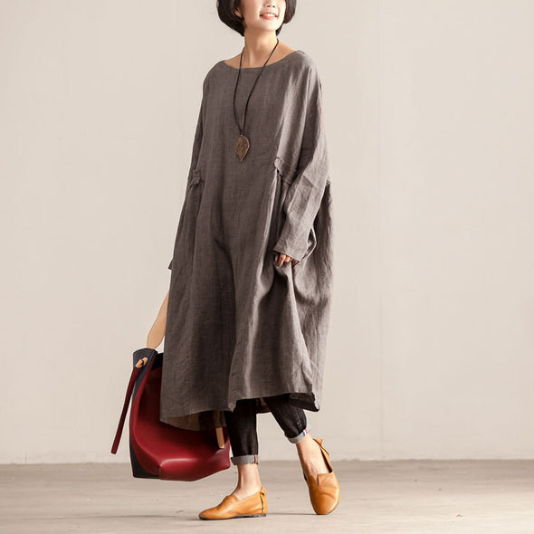 Loose Women Round Neck Shoulder Sleeve Plain Hedging Dress - Buykud
