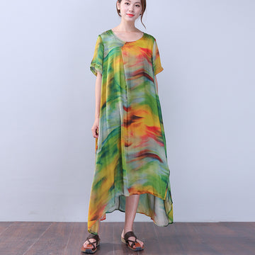 Retro Slit Printing Silk Women Short Sleeves Green Dress - Buykud