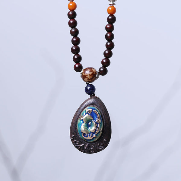 Vintage Bead Mental Ebony Pendant Necklace - Buykud