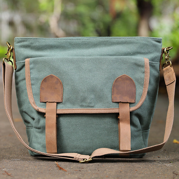 Canvas Leather Casual Versatile Green Shoulder Bag - Buykud