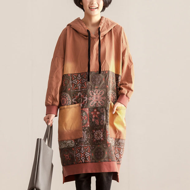 Autumn Winter Women Hoodies Long Sleeve Printing Dress - Buykud
