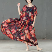 Spring Floral Printed Round Neck Short Sleeve Women Dress - Buykud