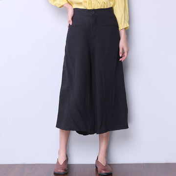 Cotton Linen Loose Women Casual Black Skirt Pants - Buykud