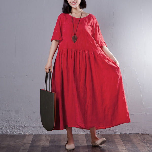 Summer Round Neck Short Sleeve Red Pleated Dress - Buykud