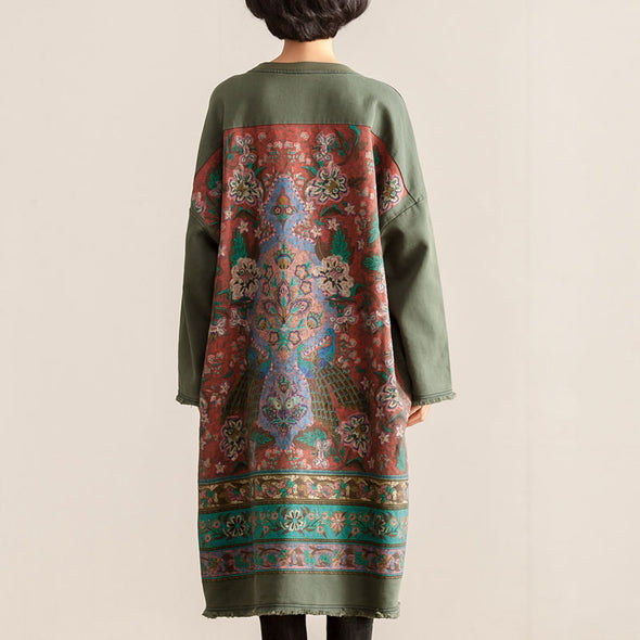 Round Neck Long Sleeve Women Cotton Printing Dress - Buykud
