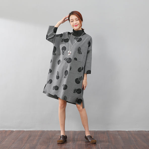 Printing High Collar Fashionable Autumn Split Gray Shirt - Buykud