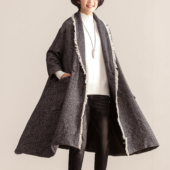 Winter Polo Collar Three Quarter Sleeve Women Long Coat - Buykud