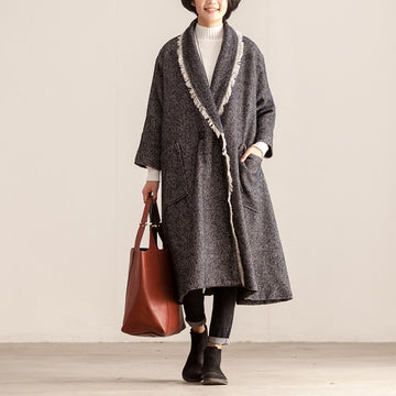 Retro Winter V-neck Women Warm Long Coat