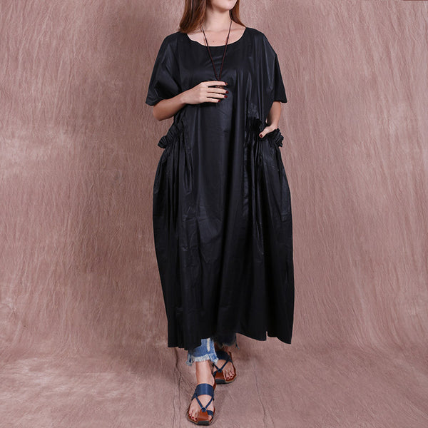 Splicing Casual Round Neck Loose Black Dress