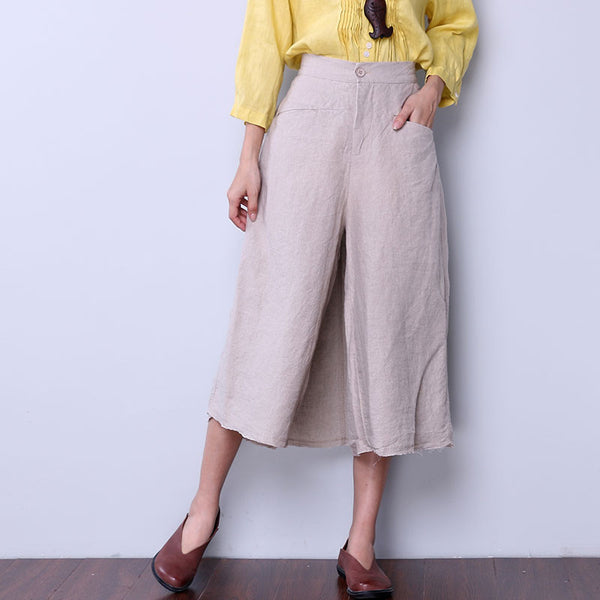 Cotton Linen Loose Women Casual Beige Skirt Pants - Buykud