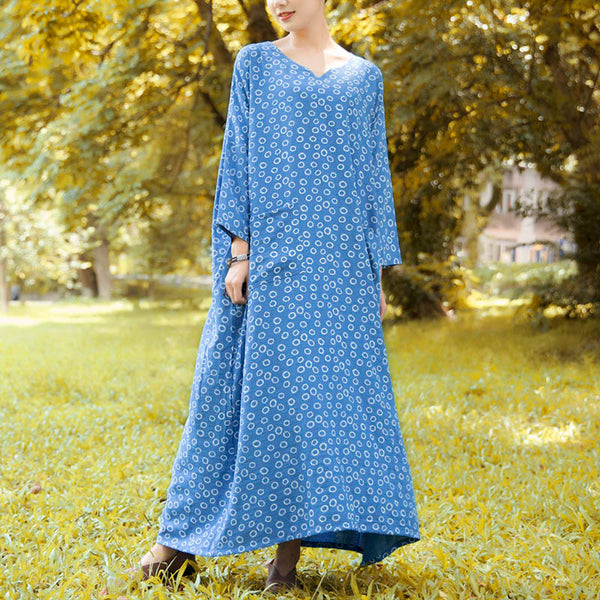 Vintage Literature Double Pocket Printing three quarter Sleeves Blue Dress