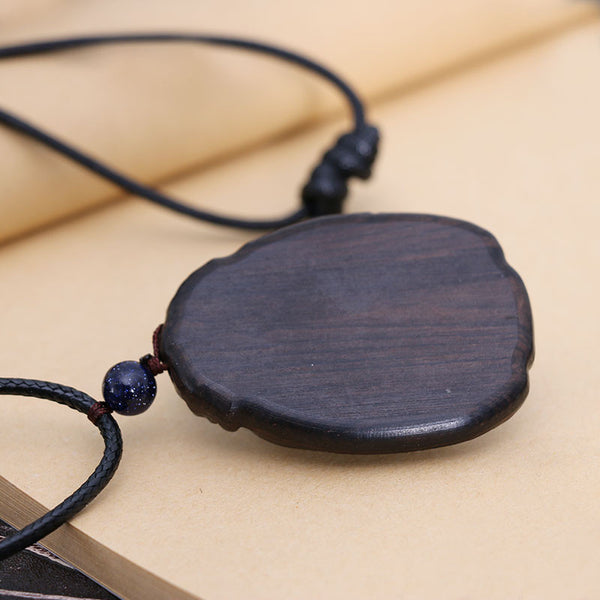Wooden Ebony Bead Pendant Necklace - Buykud