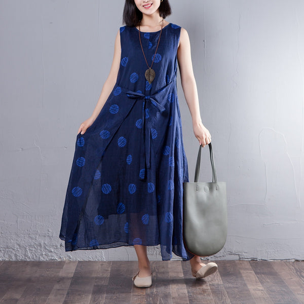 Round Neck Sleeveless Printed Summer Women Dress - Buykud