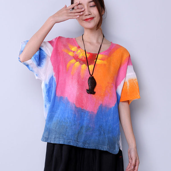 Dyeing Colorful Linen Women Loose Casual Summer Short Shirt