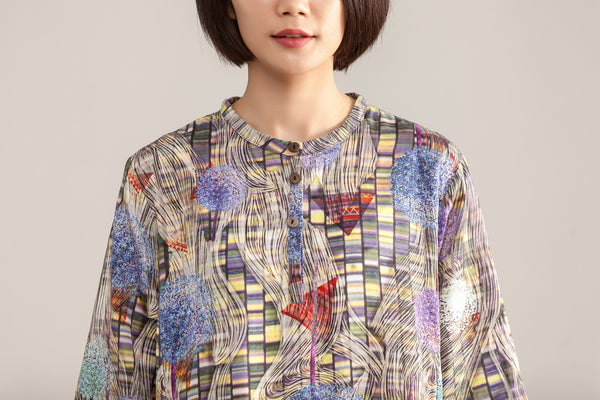 Stand Collar Three Quarter Sleeve Retro Printed Dress - Buykud