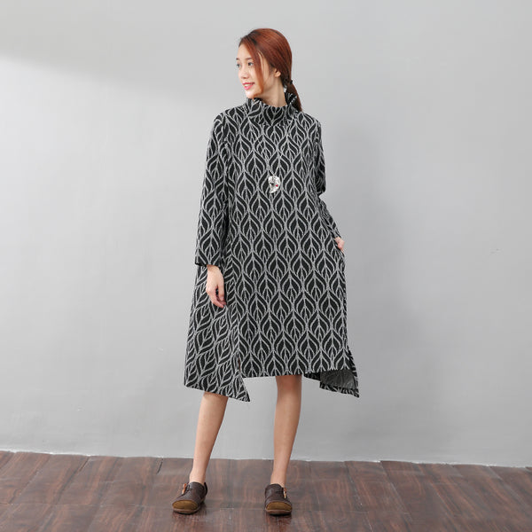 High Collar Printing Stylish Autumn Split Black Dress - Buykud