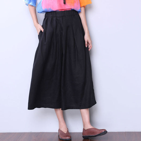 Folded Women Loose Linen Wide Leg Black Pants