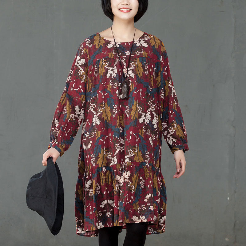 Retro Women Printed Cotton Long Sleeve Red Flower Dress - Buykud