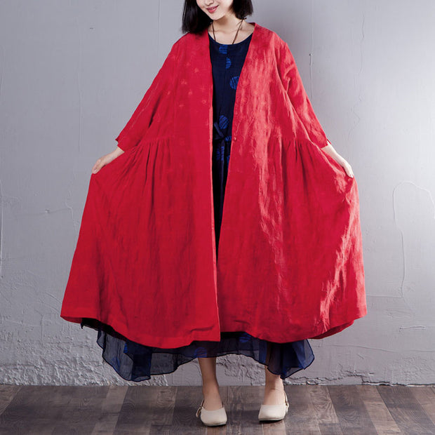 Three Quarter Sleeve Loose V Neck Red Coat - Buykud