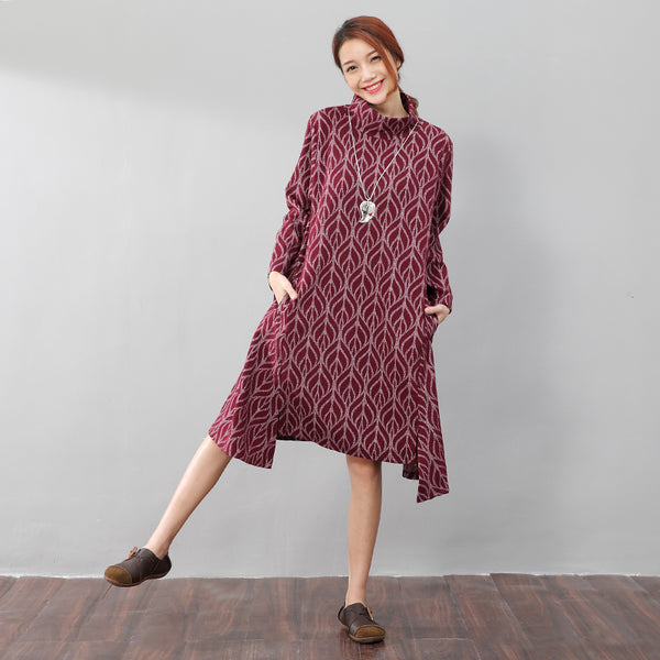 High Collar Printing Stylish Autumn Split Red Dress - Buykud