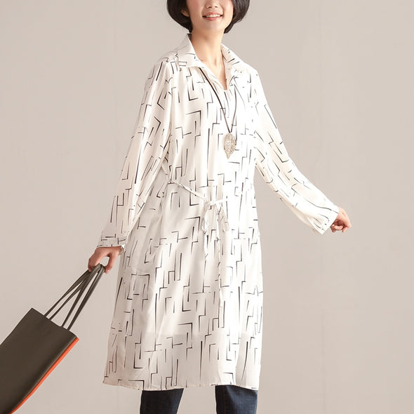 Spring Polo Collar Long Sleeve Printing Hedging White Dress - Buykud