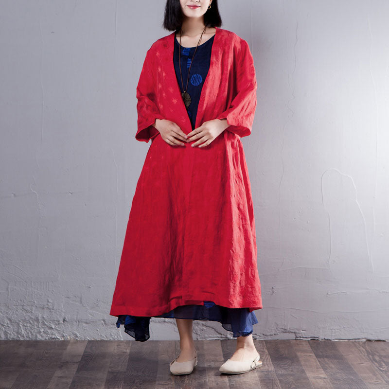 best cheap 3141e 6bf29 Three Quarter Sleeve Loose V Neck Red Coat - L / Red