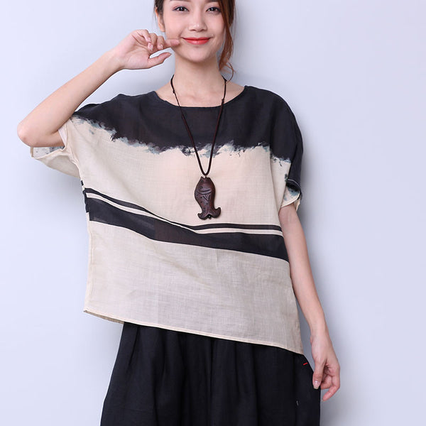 Linen Women Loose Casual Summer Short Shirt