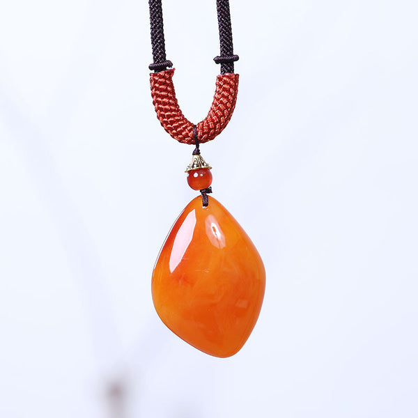 Retro Ethnic Exquisite Beeswax Women Necklace - Buykud