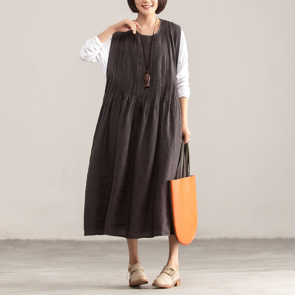 Round Neck Sleeveless Loose Dark Gray Pleated Dress - Buykud