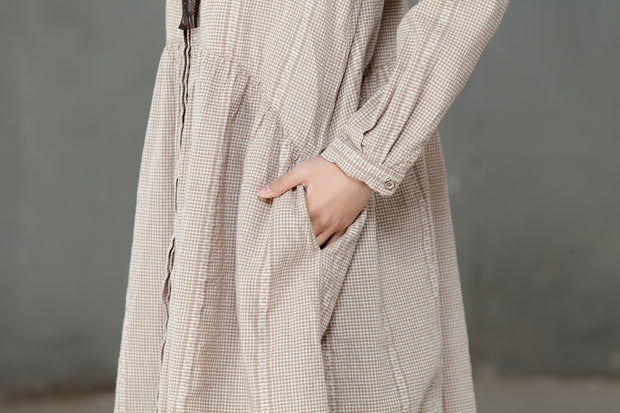 Single Breasted Loose Beige Lattice Women Pleated Dress - Buykud