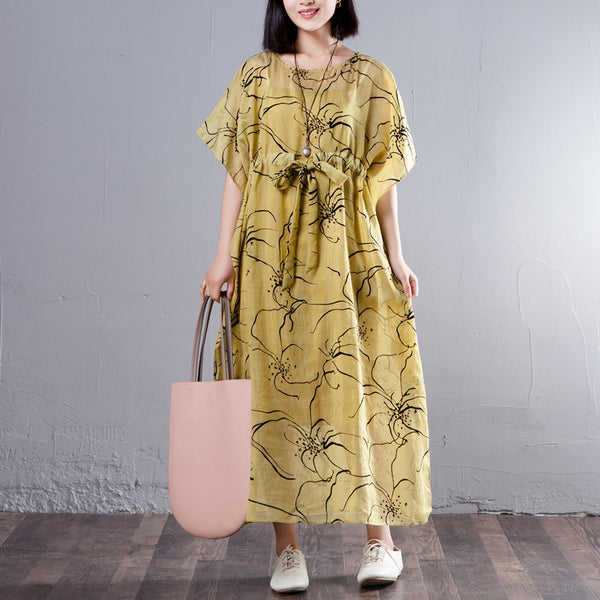 Spring Summer Round Neck Short Sleeve Printed Yellow Dress - Buykud