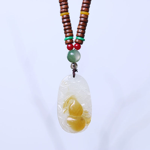 Distinctive Gourd Bead Pendant Necklace - Buykud