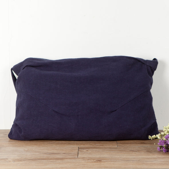 Large Capacity Linen Navy Blue Shoulder Bag - Buykud