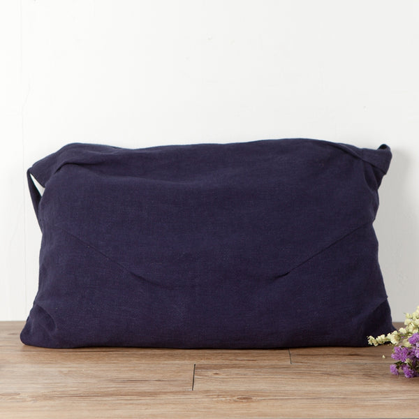 Large Capacity Linen Navy Blue Shoulder Bag