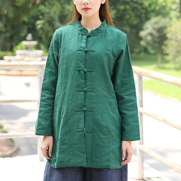 Women Stand Collar Long Sleeve Warm Single Breasted Splitting Green Shirt - Buykud