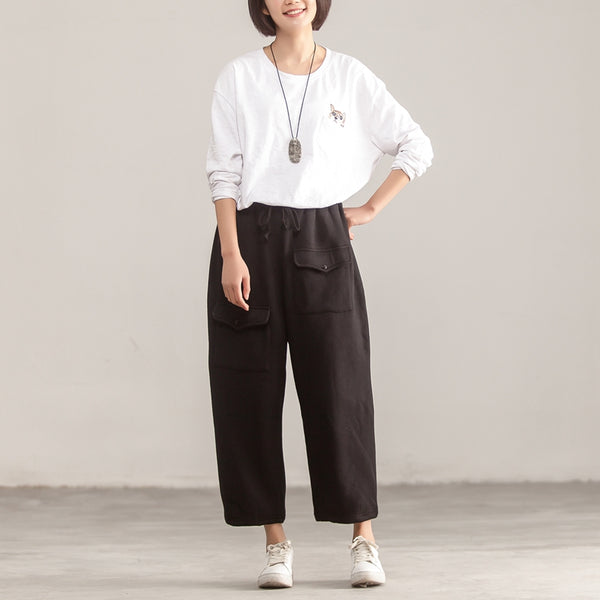 Autumn Winter Casual Women Cotton Lacing Black Pants - Buykud